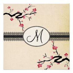 Japanese style monogram wedding card. Fully customizable. http://bezazzled.com http://customprintpersonalizedweddingengagementannouncementcards.com #personalizedweddinggifts #personalizedengagement