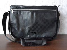 f223ec7578d Gucci Messenger Bag (Men s Pre-owned Black Leather Business Shoulder Bag)