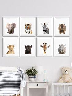 Set of 8 Prints Safari Animal Art Prints. Nursery decor, Kids Gift, Printable Animal Art, Wall Print Sets, Elephant Print, Tiger Print, Zebra Print, Giraffe Print... Baby Shower Gift, Prints for Nursery