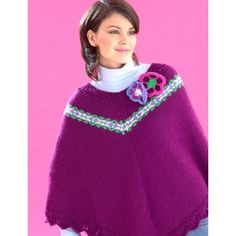 Fair Isle and Flowers Poncho