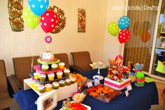 cute buffet table set-up for a birthday party or any other event!