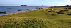 14th at North Berwick played onto the shoreline. Kilda and Bass Rock are on the horizon