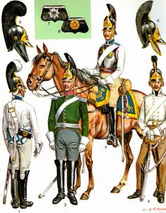 Russia; Cuirassiers, 1. NCO 1803-07, 2. Subaltern 1812-17, 3. Trooper, Full Dress, 1812-17 & 4. Trooper, Service Dress, 1809-11 by L & F Funken. Facing colours shown are possibly light blue for His Majesty's, The Emperor's Regt & Light Raspberry for Her Majesty, The Empresses Regt.