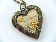 OOAK Vintage Brass Heart Locket Necklace Pendant Moon Star Poetry Words Love Poem Music Lyrics Musical Song Recycled Repurposed Upcycled Art...