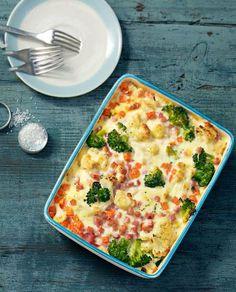 Gratin mit Brokkoli, Blumenkohl und Schinken
