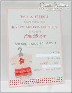 Baby Shower invitation, Something for Baby, Onesie, baby girl, Stampin' Up!, #stampinup, Connie Babbert, www.inkspiredtreasures.com