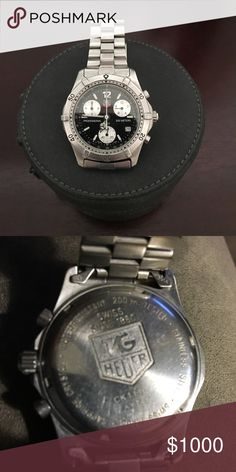 Tag Heuer Watch Men's Chronograph Swiss Watch Stainless Steel, Sapphire Crystal Face; Case Width (39.00 mm); Case Width w/ Crown (42.00 mm); Case Thickness (12.00 mm); Crown Tyoe (screw down) Accessories Watches