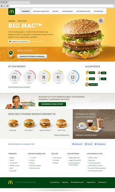 The hungarian McDonald's website's redesign / Mito / Clever things / #mcdonald's #yellow #food