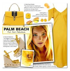 """""""How to Style a Marigold Dress with Gold Espadrille Wedges and a Yellow Bag for Travel to Palm Beach"""" by outfitsfortravel ❤ liked on Polyvore featuring Topshop, cutekawaii, Gucci, Kastur Jewels and It's skin"""