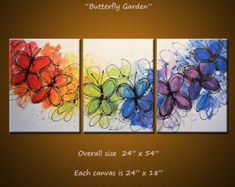 Art Rainbow Painting Triptych Large Flowers by AmyGiacomelli