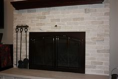covering up a brick fireplace | Brick Fireplace Makeover