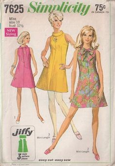 MOMSPatterns Vintage Sewing Patterns - Simplicity 7625 Vintage 60's Sewing Pattern FANTASTIC Mod Twiggy Cutaway Armholes Roll or Tie Colalr Fit & Flared Jiffy Mini Dress So Summery!