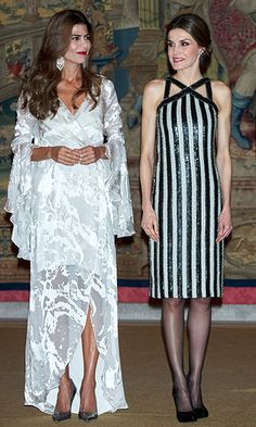 Joined by Argentina's first lady Juliana Awada, left, Queen Letizia of Spain wore sparkly stripes at a reception held at El Pardo Palace in Madrid.