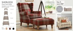 Occasional Chairs - Next. The Sherlock in versatile check Stirling red.  Standard feet. Occasional Chairs, Armchairs, Sofas, Sofa Chair, Home Furniture, Arm Chairs, Womb Chair, Couches, Chaise Sofa