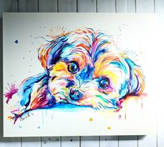 A puddle of puppy on clayboard, waiting to be framed. Dog Pop Art, Dog Art, Colorful Animal Paintings, Rainbow Art, Dog Paintings, Watercolor Animals, Dog Portraits, It's Monday, Pets