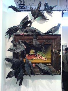 DashBurst - The Art of Of Destruction by Valerie Hegarty Bird Sculpture, Modern Sculpture, Flock Of Crows, Decay Art, Instalation Art, Art Alevel, A Level Art, Art Plastique, Oeuvre D'art