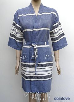 Women's large size navy blue soft Turkish cotton lightweight short kimono robe with pockets, bridesmaid robe with pockets.