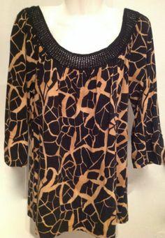 AK Anne Klein Crocheted Knit Top Animal Print  Sz L  eBay $9.99 EUC
