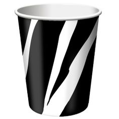 Take a walk on the wild side with our Zebra Print Hot/Cold 9 Ounce Beverage Cups.  The black and white patterned cups coordinate with all the items in our Zebra collection.  One package includes 8 cups.