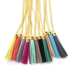 Brass Cap Leather Tassel Necklace-yellow