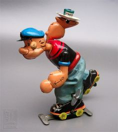 Roller Skating Popeye Tin Litho Wind-Up Toy