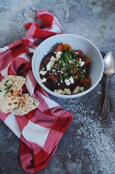 Linzen curry met bataat en feta