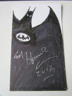 PSA/DNA ED HANNIGAN AUTOGRAPHED 3 X6  ORIGINAL SKETCH OF #BATMAN! #Art #Comics