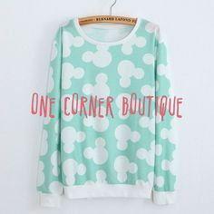 Mickey Mouse Ears Print Sweatshirt Mouse by OneCornerBoutique