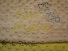 Personalized Minkee Baby Blankets by www.sun7designs.com Check us out on Facebook at www.facebook.com/sun7designs