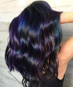 Oil Slick Hair Is The Perfect Hair Color Trend For Brunettes - . - Oil Slick Hair Is The Perfect Hair Color Trend For Brunettes - Perfect Hair Color, Hair Color And Cut, Cool Hair Color, Creative Hair Color, Oil Slick Hair Color, Slick Hairstyles, Work Hairstyles, Casual Hairstyles, Fringe Hairstyles
