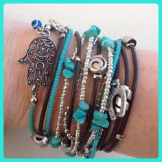 Boho Chic Leather Hamsa Wrap Bracelet with Silver and turquoise accents, Kabbalah Jewelry, Evil Eye Jewelry. by DesignsbyNoa, $40.00