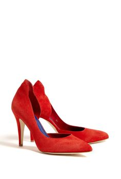 Red Atenera Suede Court Shoes by By Malene Birger