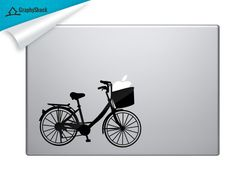 Hipster Bike Carrying Apple In Basket - Mac Decal