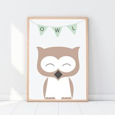 Owl print Woodland animals Woodland nursery decor Pastel