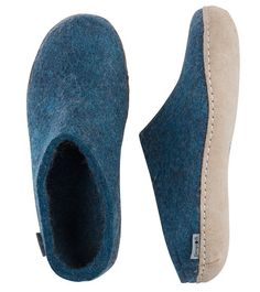 Buy Glerups Felt Mule - Petrol from Hus & Hem. The Glerups mule is the perfect slip-on slipper, quick and easy to get on and off, and ideal for year round wear. Slip On Boots, Outdoor Wear, Vegetable Tanned Leather, Womens Slippers, Low Heels, Heeled Mules, Fashion Accessories, Pairs, Man Shop