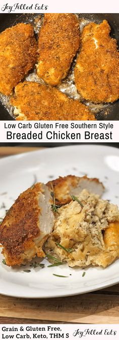 Super Low Carb Gluten Free Southern Style Breaded Chicken Breast - This has an ingenious blend of pork rinds, cheese, and spices so you will never miss traditional breaded chicken again. It is great in chicken parmesan and sliced on top of a crisp salad. Breaded Chicken Recipes, Low Carb Chicken Recipes, Low Carb Dinner Recipes, Keto Chicken, Healthy Breaded Chicken, Low Carb Chicken Parmesan, Best Gluten Free Recipes, Thm Recipes, Keto Pork Rinds
