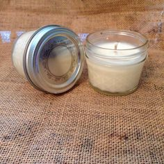 Two small soy jar candles *Unscented** *Lids included *Great addition to center pieces!! *Customize scent available* *Bulk Available