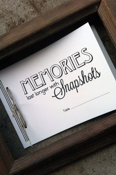 "Wedding Snapshots Booklet for each table at the reception (could include a fun ""I spy"" list of photos and a hash tags for each table) #ampersandink"
