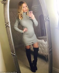 Glowing mum-to-be: Billie Faiers, 26, couldn't resist showing off her growing bump as she shared an Instagram snap of herself in a skin-tight grey knitted number on Tuesday