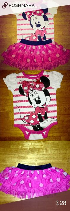 🎀 Disney Minnie Mouse Onesie w/ Skirt•FIRM❗️ Disney Minnie Mouse Onesie w/ matching Pink & Black Polka Dot Skirt. ✨This outfit was purchased at Disney World✨Onesie has a White background w/Pink stripes & White Polka Dots on stripes. Sleeves are ruffled & White. Pink bordering the neck & bottom. Minnie takes up the front of the onesie, wearing a Pink dress & Pink Bow 🎀 w/White PolkaDots. Back of onesie is White. Skirt is Hot Pink w/White PolkaDots & all ruffles w/Black elastic waist…