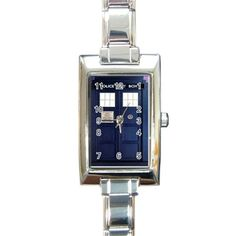 Tardis Doctor Who Rectangle Italian Charm Watch