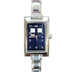 Tardis Doctor Who Rectangle Italian Charm Watch