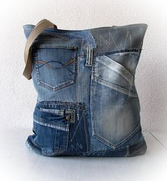 Tote  recycled denim bag, upcycled blue jean patchwork handbag, old jeans recycling vegan bag, shopping recycled denim big bag, XXL bag