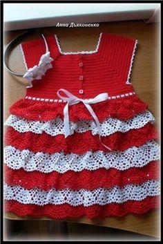 Robe rouge et blanche avec ses grilles gratuites ! - Modèles pour Bébé au Crochet