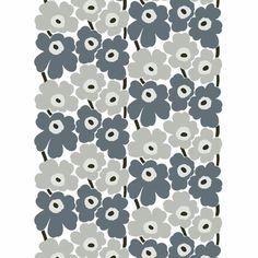 Marimekko Unikko fabric- love! Get this for drapes and get the matching wallpaper. Try to find this fabric in the grey and yellow color combination to match the wallpaper in those colors.