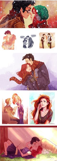 Lily and James Potter Lily Harry Potter, Harry Potter Artwork, Harry Potter Marauders, Harry Potter Ships, Harry Potter Drawings, Harry Potter Books, Harry Potter Universal, Harry Potter Fandom, Harry Potter Characters