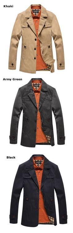 Men's Spring Fall Winter Business Suit Fashion Style Cotton Casual Long Jacket