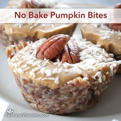 No Bake Pumpkin Bite Bars ~ the most adorable individual pumpkin pies. These perfectly portioned bites are so silky and delicious, it'll be hard to have just one.  With a homemade chewy and flavorful crust, your guests will be begging for the recipe. Make these your go-to party treat.