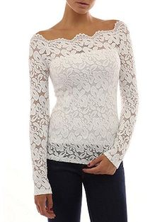 Shop White Lace Off Shoulder Long Sleeve T-shirt from choies.com .Free shipping Worldwide.$12.9