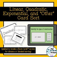 """Updated to include a digital version! Perfect for in-person, blended, or distance learning classes. Each version of the activity (printable pdf and Boom CardsTM) include 40 unique relationships to introduce, practice, or review identifying linear, quadratic, exponential, and """"other"""" relationships. Ontario Curriculum, Secondary Math, Create Words, Word Problems, Math Activities, Sorting, Teaching Resources, Vocabulary, Distance"""